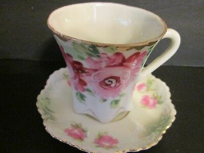 PINK roses shabby cottage porcelain ELEGANT OLD CHOCOLATE CUP & SAUCER SET gold