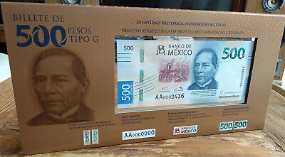 MEXICO 2018 $500 WHALES banknote in OFFICIAL pres. folder, low serial, mint cris