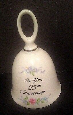 """Bell On Your 25th Anniversary Flowers Ribbon 5"""" Tall Russ Made In Japan"""