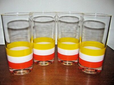 Vintage George Briard Orange Yellow White Glasses~Lot Of 4~Tumblers Barware