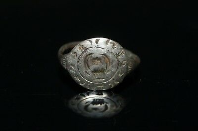 Beautiful Ladies Medieval Silver Inscribed Finger Ring. Wearable.