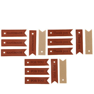 20Pcs PU Leather Label Handmade Tag for DIY Embellishments Ornaments Crafts