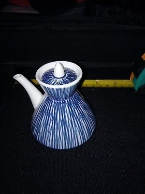 Miniature Japanese teapot in blue with makers mark