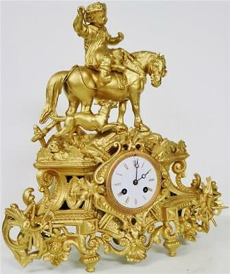 Antique French 8 Day Striking Gilt Spelter Boy, Horse & Dog Figural Mantel Clock