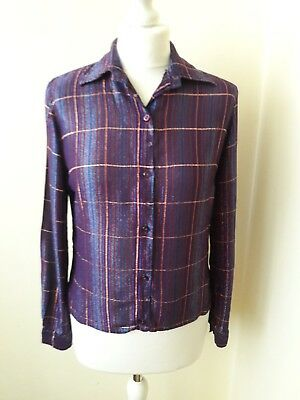 Womens Vintage 1970s Purple Metallic Shimmering Blouse Size 12 Party Evening