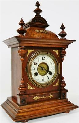 Antique German Bracket Clock, 8 Day Carved Mahogany Gong Striking Mantel Clock