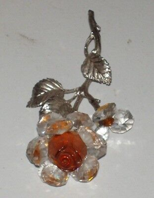 """Gorgeous Two Colour Glass Rose On Metal Stem & Leaves  Ornament Approx 4.5"""" Long"""