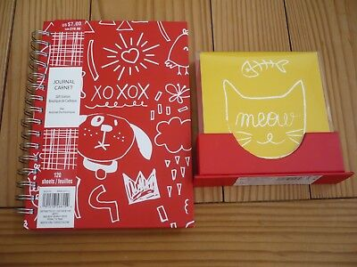 NWT Meow Red Yellow Cat Lined Journal 120 Pages and 12 Piece Note Cards
