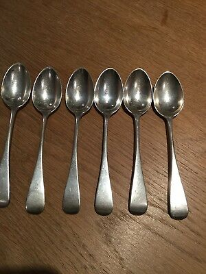 Antique Solid Sterling Silver Set Of 6 Tea Spoons Old English Pattern 1893