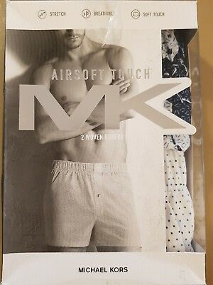 NIB Michael Kors MK Mens Boxers 2 Pack  Airsoft Touch Woven Cotton Size Small