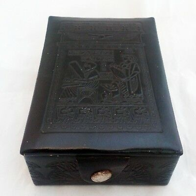 Vintage 1920s Egyptian Revival Jewellery Box Black Leather Ancient Egypt Design