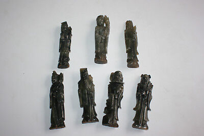 7 Pcs Anitque Chinese Jade stone / Soapstone Carved Immortals Figures