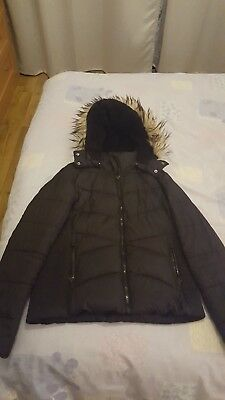 Girls padded hooded jacket with detachable faux fur for 14 year old