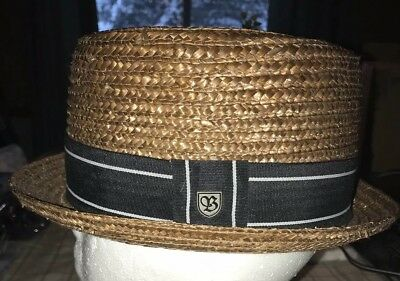 VINTAGE BRIXTON STRAW Boater Hat. Size 7 Small -  34.99  f35f28074fe