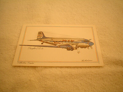 VINTAGE UNITED AIRLINES DOUGLAS DC-3 POSTCARD 1970's HISTORICAL SERIES ANDERSON