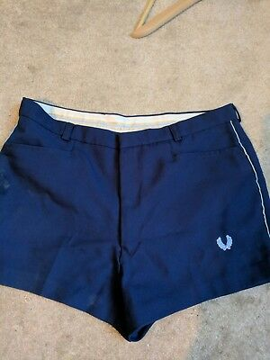 """Trendy Fred Perry Mens Smart Shorts Navy Size 34"""" Vintage Retro"""