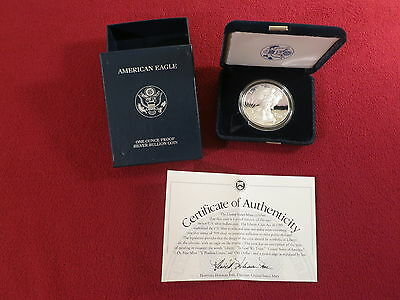 2002 W $1 American Eagle One Ounce Silver Proof Dollar Coin, US Mint Box & COA