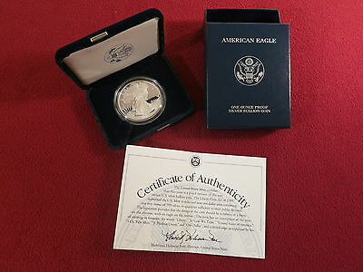 2003 W $1 American Eagle One Ounce Silver Proof Dollar Coin, US Mint Box & COA