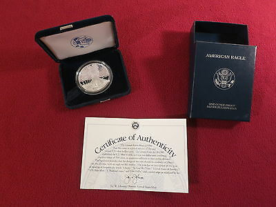 2001 W $1 American Eagle One Ounce Silver Proof Dollar Coin, US Mint Box & COA
