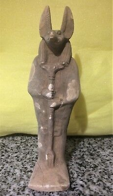 "Anubis Faience Egyptian Ushabti Funerary Figurine  8.12"" Tall"