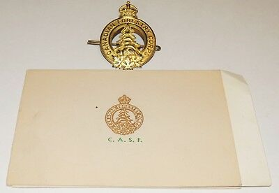 WW1 WW2 CEF Canadian Forestry Corps Rare letter panorama photo + cap badge!