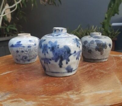 Lots of 3 pieces  Large Antique chinese ming dynasty swatow Porcelain Vase