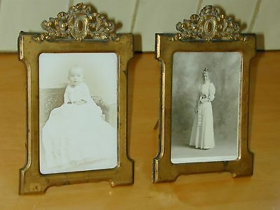 Pair of Antique French Brass Frames w Adornment