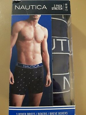 Nautica Mens 3 Pack Stretch Cotton Boxer Briefs Classic Fit Size L 36-38 Navy