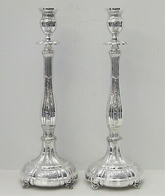Fine 925 Sterling Silver Handcrafted Swirl Chased Matte Ornate Candlesticks
