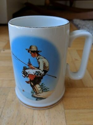 "1985 Coca Cola Norman Rockwell 100th Anniversary Porcelain Mug-""Out Fishin"""
