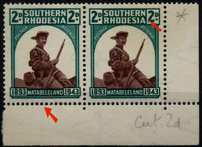 """S RHODESIA - 1943 Pair Matabeleland 2d with """"cut"""" on 2 of 2d SG61 MNH (Br1517)"""