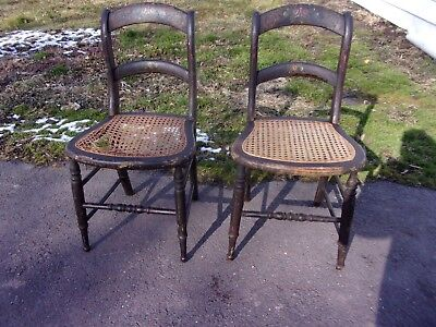 2 Antique Stenciled Cane Chairs