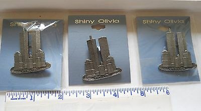 WORLD TRADE CENTER 3 (three) PINS *pre  9-11 Twin Towers WTC New York City