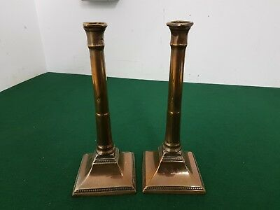 Pair of Antique 26 cm Early Bronze/Copper Square Base Candlesticks