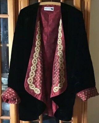 Vintage Velvet Gold Thread Embroidery Coat By Past Times