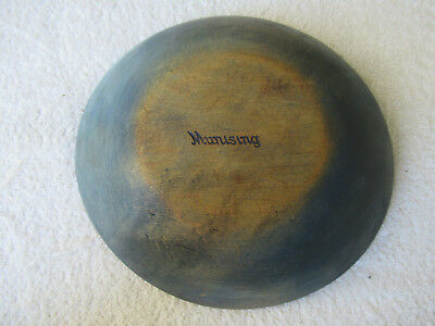 "Antique Bowl MUNISING Primitive Vintage Blue Paint 8-7/8"" Round Wood Wooden"