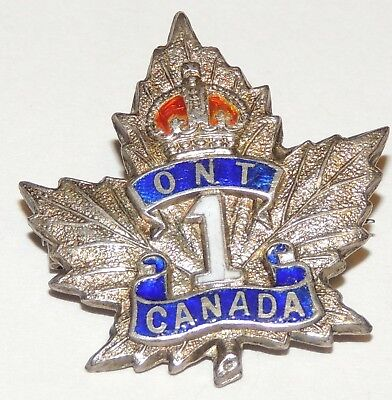 WW1 WW2 1st CEF Ontario Regiment cap badge sweetheart pin Sterling Silver marked