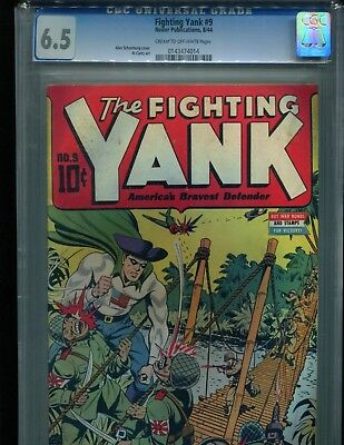 Fighting Yank 9 CGC 6.5 C/OW pages Alex Schomburg Classic Japanese WWII Cover