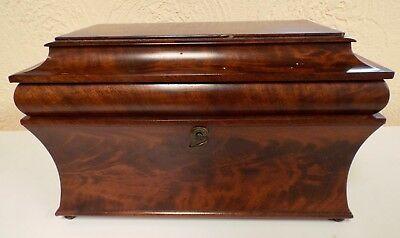 Antique Georgian Period Chippendale Tea Caddy In Original Condition & Complete