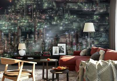 Industrial Complex Factory Night Lights Photo Wallpaper Wall Mural (1X-590402)