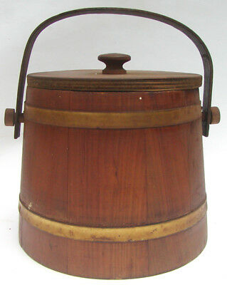 Vintage Consolidated Cigar Corp Wooden Tobacco Pipe Cigar Bucket Pail Metal Band
