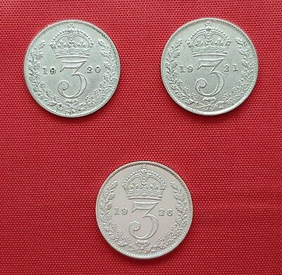 Great Britain 3 Silver Coins , 3 Pence ,1920 , 1921 , 1926 (.500) George V ,XF+