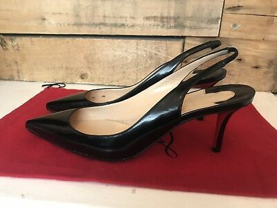 hot sale online 0c729 3655b GENUINE CHRISTIAN LOUBOUTIN Apostrophy Sling 70mm Black Heels Size 37.5