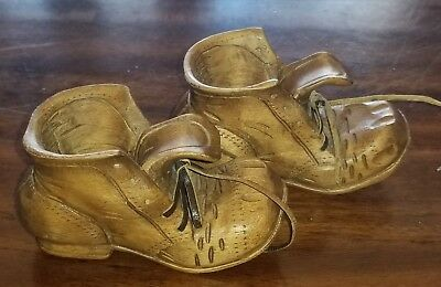 Vintage Hand Carved Wood Folk Art Shoes 1 Pair Leather Laces D Unruh