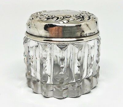 Antique Gorham Repousse Sterling & Cut Crystal Powder , Vanity Box W / Mono