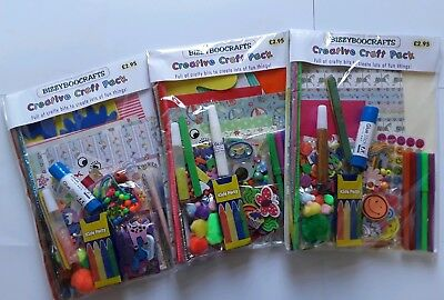 Job lot of 3 large kids Creative Craft Pack kits.Lot A
