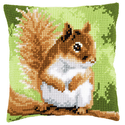 Squirrel - Chunky Cross Stitch Cushion Kit Large Printed Tapestry Canvas Vervaco