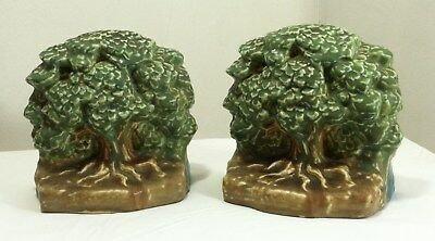 Antique Pair of Rare Rookwood Tree of Life Bookends Artist Signed #6023 Perfect