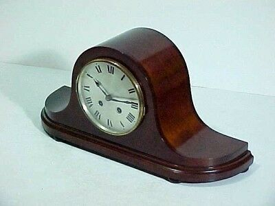 Antique Napoleon Mantel Clock, German HAC Chime Movement, Mahogany Case and Key