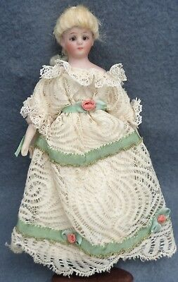 Antique Tiny Bisque  Cloth S&H Dollhouse Lady Blonde Braid  Blue Boots
